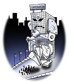 Line art of monster 'transformer'-like 'corporation' building trampling relatively tiny people
