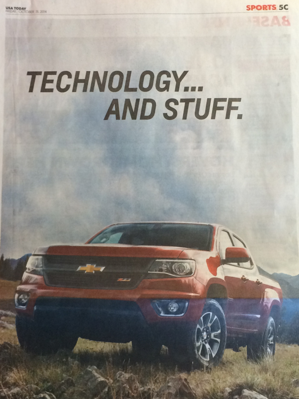 Newspaper ad of new Chevrolet pickup truck; headline 'Technology and stuff'