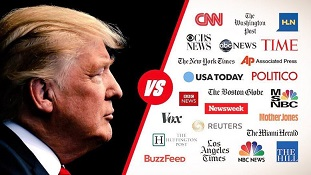 President Donald Trump faces off against independent (fake news) media